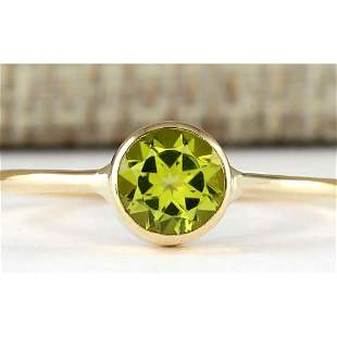 1.00 CTW Natural Peridot Ring In 18K Yellow Gold