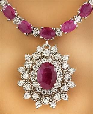 28.11 CTW Ruby 14K White Gold Diamond Necklace