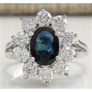 2.83 CTW Natural Blue Sapphire Diamond Ring 18K Solid