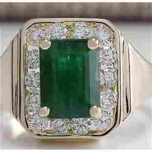 MENS 3.16 CTW Natural Emerald And Diamond Ring 18K