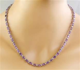 27.50 CTW Amethyst 14K White Gold Diamond Necklace