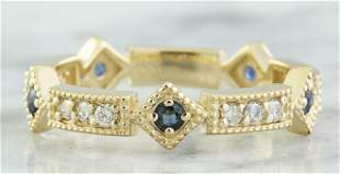 0.43 CTW Sapphire 18K Yellow Gold Diamond ring