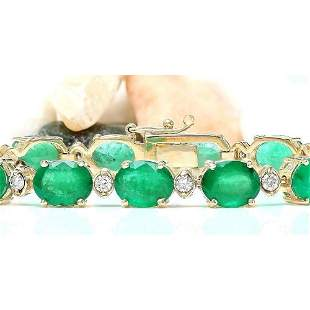 27.98 CTW Natural Emerald 18K Solid Yellow Gold Diamond