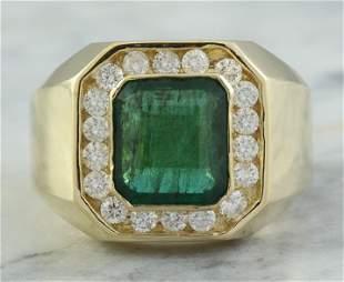 4.26 CTW Mens Emerald 18K Yellow Gold Diamond Ring