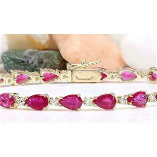 9.50 CTW Natural Ruby 18K Solid Yellow Gold Diamond