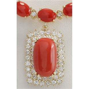 47.41 CTW Natural Red Coral And Diamond Necklace In 18K