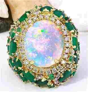23.55 CTW Natural Opal, Emerald 14K Solid Yellow Gold