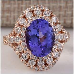 5.72 CTW Natural Blue Tanzanite And Diamond Ring 14K