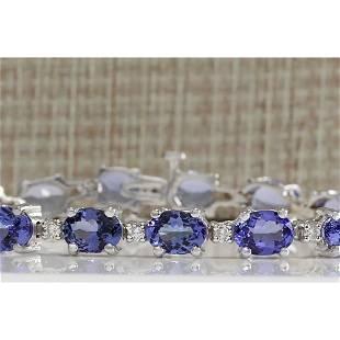 17.59CTW Natural Tanzanite And Diamond Bracelet In 18K