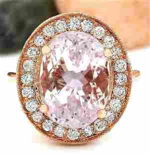 10.57 CTW Natural Kunzite 14K Solid Rose Gold Diamond