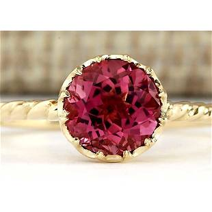 1.50 CTW Natural Pink Tourmaline Ring In 18K Yellow