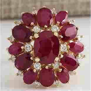 7.47 CTW Natural Red Ruby And Diamond Ring 18K Solid