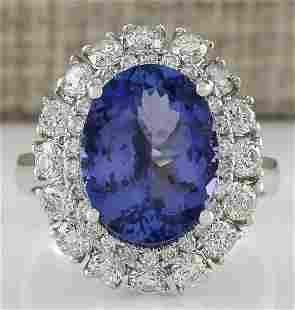 6.52 CTW Natural Blue Tanzanite And Diamond Ring 18K