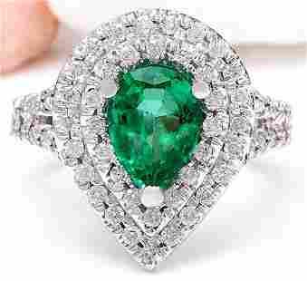 4.83 CTW Natural Emerald 14K Solid White Gold Diamond
