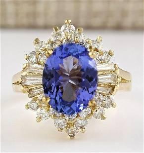 4.62 CTW Natural Tanzanite And Diamond Ring In 18K