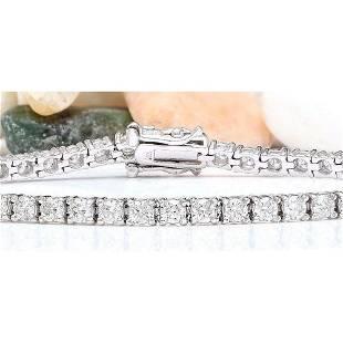 5.00 CTW Natural Diamond 18K Solid White Gold Bracelet