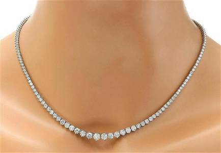8.45 CTW Natural Diamond 18K Solid White Gold Necklace