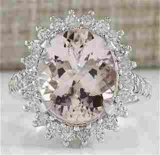 7.34 CTW Natural Morganite And Diamond Ring In 18K