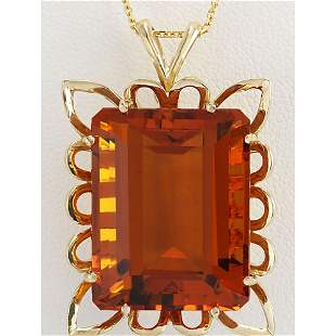 55 CTW Natural Citrine Pendant In 18K Solid Yellow Gold
