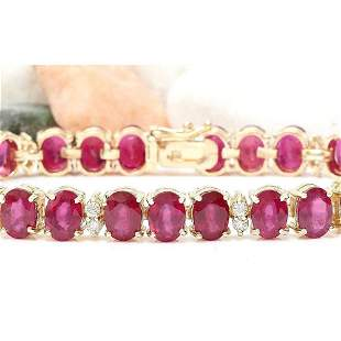 33.50 CTW Natural Ruby 14K Solid Yellow Gold Diamond