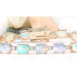 13.58 CTW Natural Opal 14K Solid Rose Gold Diamond