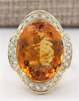 17.06 CTW Natural Citrine And Diamond Ring 14k Solid