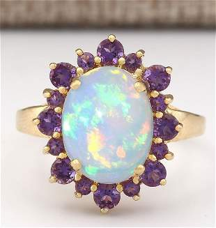 4.51 CTW Natural Opal And Amethyst Ring In 18K Yellow