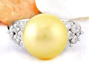 12.90 mm Gold South Sea Pearl 14K Solid White Gold