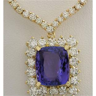 22.92 CTW Natural Tanzanite And Diamond Necklace In 18K