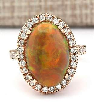 6.32 CTW Natural Opal And Diamond Ring In 18K Rose Gold