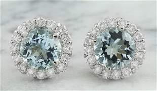3.66 CTW Aquamarine 14K White Gold Diamond Earrings
