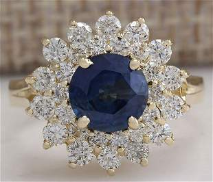 2.71 CTW Natural Blue Sapphire Diamond Ring 18K Solid