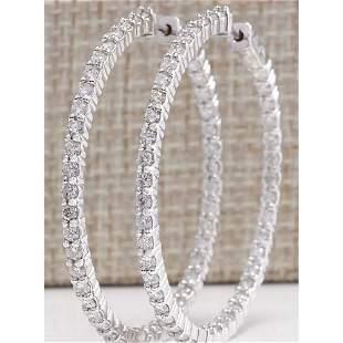 3.56 CTW Natural Diamond Hoop Earrings 14K Solid White