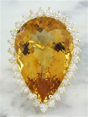 18.85 CTW Citrine 18K Yellow Gold Diamond Ring