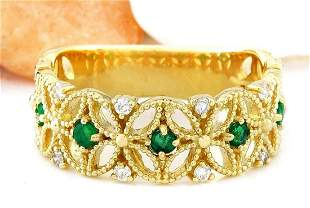 0.45 CTW Natural Emerald 14K Solid Yellow Gold Diamond
