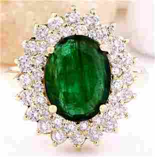 4.28 CTW Natural Emerald 14K Solid Yellow Gold Diamond