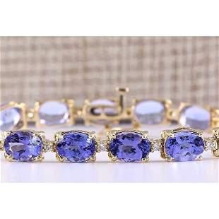29.50 CTW Natural Tanzanite And Diamond Bracelet In 14k