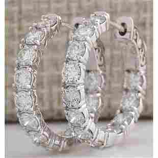 3.40 CTW Natural Diamond Hoop Earrings 14K Solid White