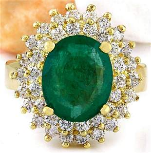 4.64 CTW Natural Emerald 14K Solid Yellow Gold Diamond