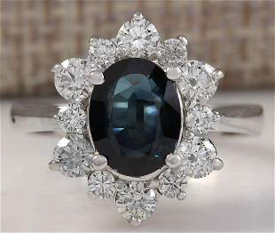 2.76 CTW Natural Blue Sapphire Diamond Ring 18K Solid