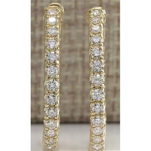 2.13 CTW Natural Diamond Hoop Earrings 14k Solid Yellow