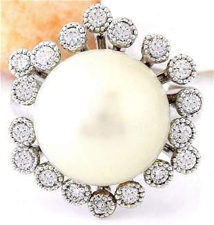 14.65 mm White South Sea Pearl 14K Solid White Gold