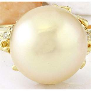 12.45 mm Gold South Sea Pearl 14K Solid Yellow Gold