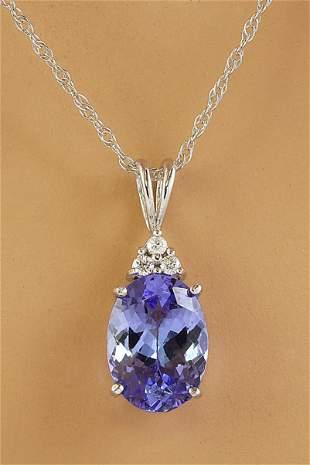 3.20 CTW Tanzanite 14K White Gold Diamond Necklace