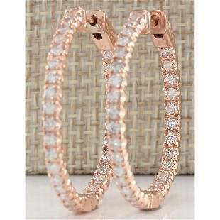 2.10 CTW Natural Diamond Hoop Earrings 14K Solid Rose