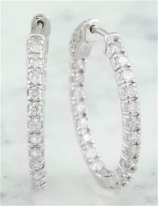 2.00 CTW 14K White Gold Diamond Hoop Earrings