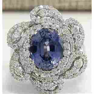 6.96 CTW Natural Sapphire Diamond Ring 18K Solid White