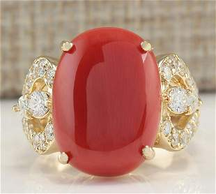 9.67CTW Natural Coral And Diamond Ring In 14K Yellow