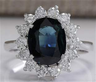 3.56 CTW Natural Blue Sapphire Diamond Ring 18K Solid