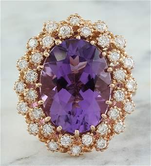 10.19 CTW Amethyst 14K Rose Gold Diamond Ring